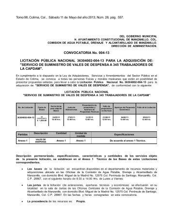 CONVOCATORIA No. 004-13 LICITACIÓN PÚBLICA NACIONAL ...