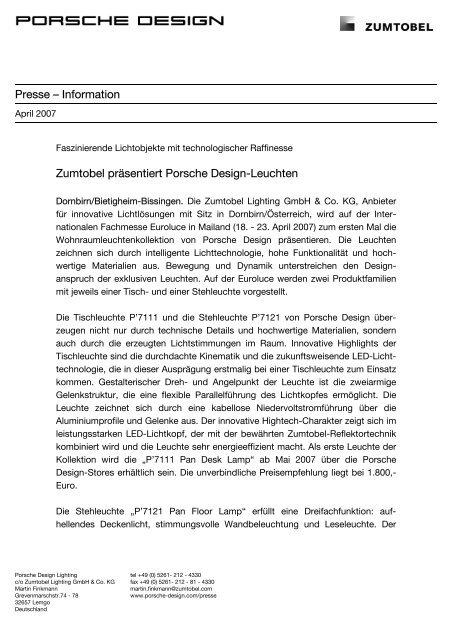 Presse – Information Zumtobel präsentiert Porsche Design-Leuchten