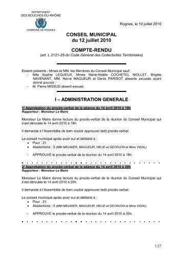 CONSEIL MUNICIPAL du 12 juillet 2010 COMPTE-RENDU - Rognes