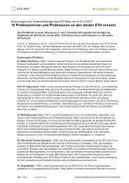 10 Professorinnen und Professoren an den beiden ETH ... - ETH-Rat