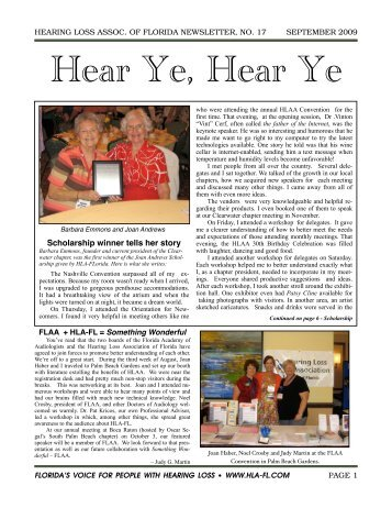September Newsletter - Hearing Loss Association of Florida