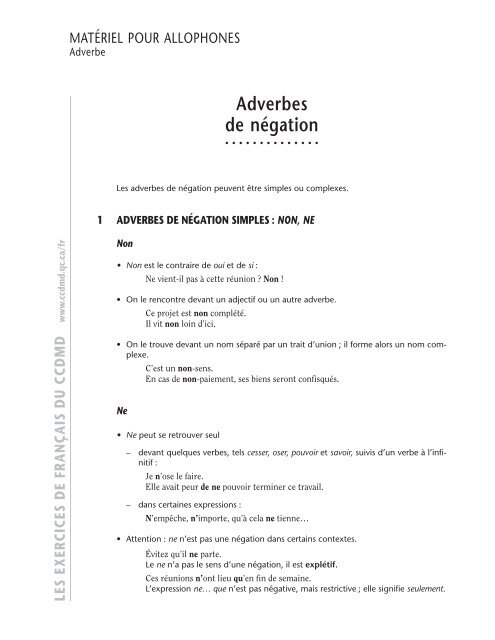 Les Adverbes De Na C Gation Ccdmd