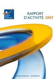 RAPPORT D'ACTIVITÉ 2007 - Genève Place Financière