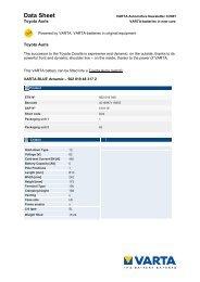 Data Sheet - VARTA Automotive PartnerNet