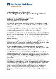 Bundesbankempfang 23. Februar 2009 Dr ... - Hamburger Volksbank