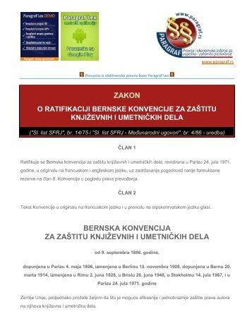 zakon bernska konvencija za zaštitu književnih i ... - Paragraf