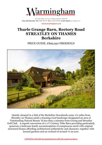 Thurle Grange Barn, Rectory Road STREATLEY ON ... - Warmingham