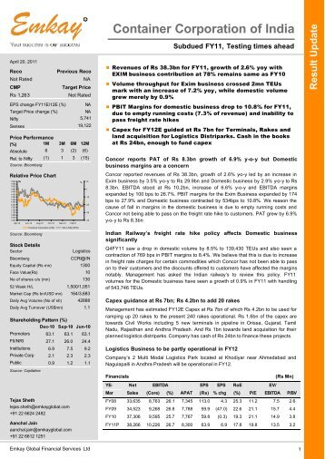 Concor Q4FY11 Result Update - Emkay Global Financial Services Ltd.