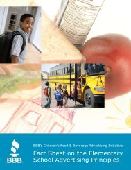 Fact Sheet on the Elementary School Advertising Principles