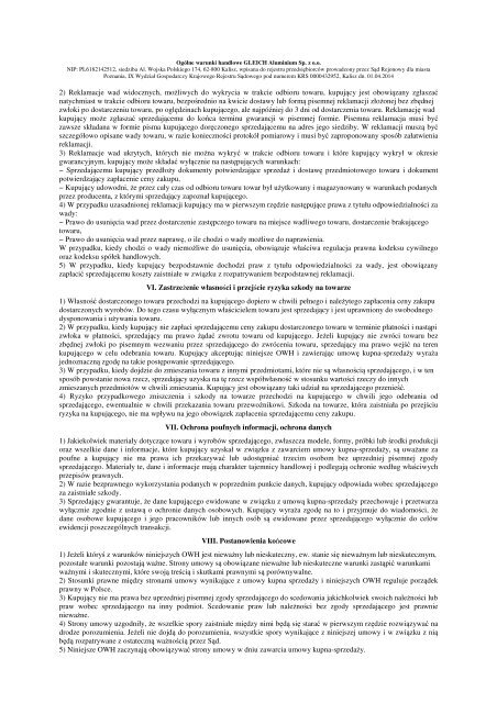 OGÓLNE WARUNKI HANDLOWE GLEICH Aluminium s.r.o. I ...