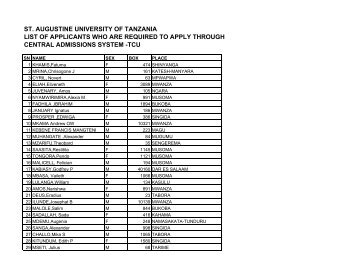 st. augustine university of tanzania list of applicants who are ...