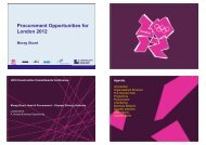 Procurement Opportunities for London 2012 - Constructing Excellence