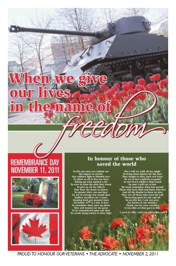 REMEMBRANCE DAY NOVEMBER 11, 2011 - The Pictou Advocate