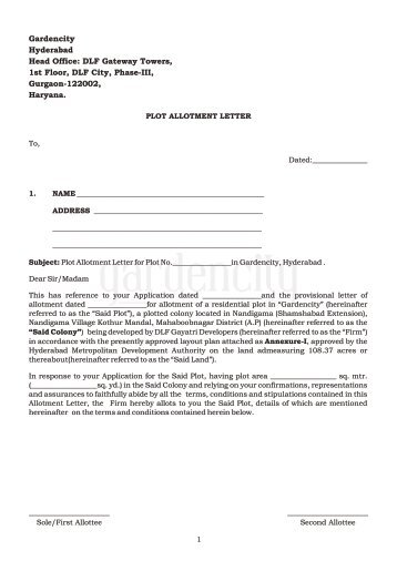 advance registration application form for allotment of a unit in ...