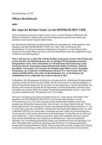 Offener Rechtsbruch oder Die Angst des Berliner Senats vor den ...