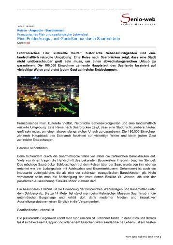 Eine Entdeckungs- und Genießertour durch Saarbrücken - Senio-Web