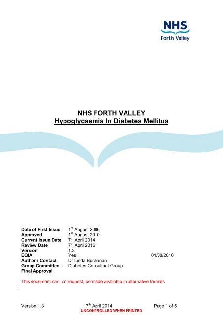 Hypoglycaemia - NHS Forth Valley
