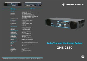 Audio Monitoring System GMS 2130 - Ghielmetti