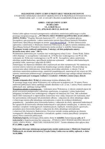 Specyfikacja SIWZ - Biuletyn Informacji Publicznej, Urząd Gminy Lubin