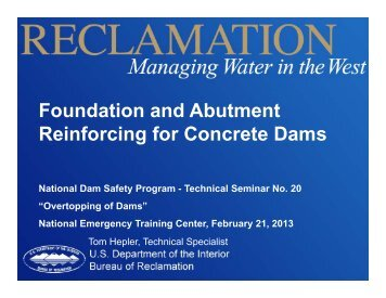 Foundation and Abutment Reinforcing for Concrete Dams