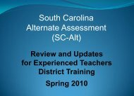 South Carolina Alternate Assessment (SC-Alt) - SharpSchool