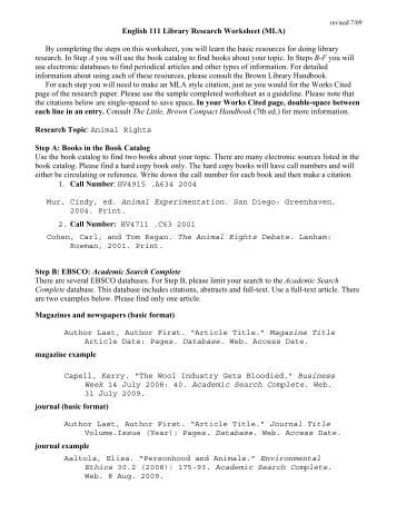 Samples of library research assignments