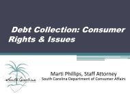 Debt: Loans and Collection - SC Consumer Affairs