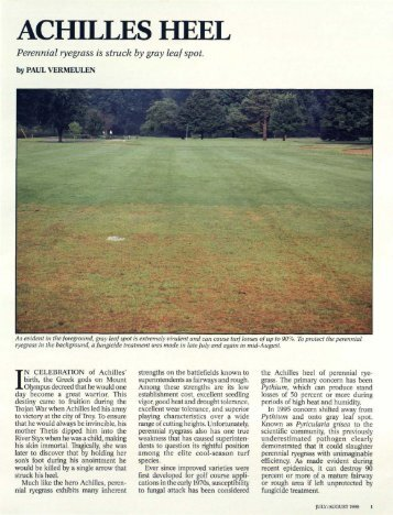 ACHILLES HEEL - USGA Green Section Record