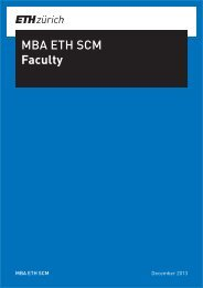 Faculty list - MBA, Supply Chain Management, SCM, ETH Zurich