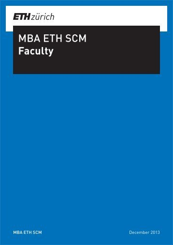 Faculty list - MBA, Supply Chain Management, SCM, ETH Zurich