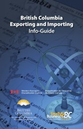 British Columbia, Exporting And Importing Info Guide