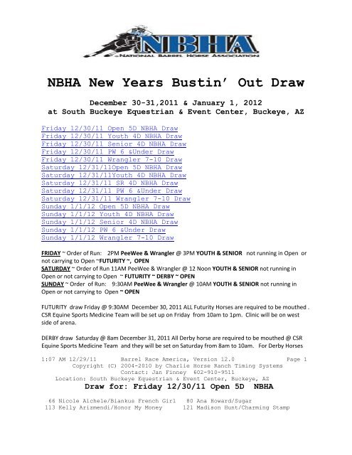 NBHA New Years Bustin Out Draw