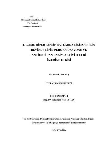l-name hipertansif ratlarda lisinoprilin beyinde lipid peroksidasyonu ...