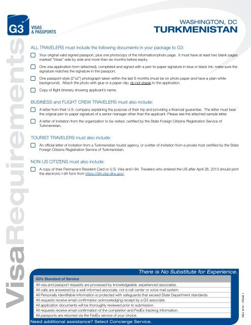 Visa Requirements Turkmenistan G3 Visas Passports