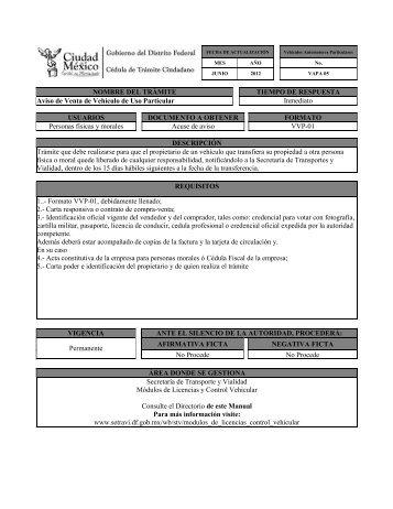 NOMBRE DEL TRÁMITE TIEMPO DE RESPUESTA Aviso de Venta ...