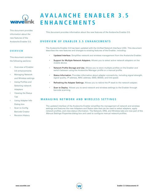 AVALANCHE ENABLER 3 5 ENHANCEMENTS - Wavelink
