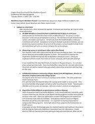 Workforce Council Meeting Minutes - Virginia's State Rural Health ...