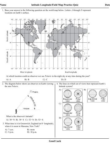 Pilot Ground School – Quiz on Latitude & Longitude Name: