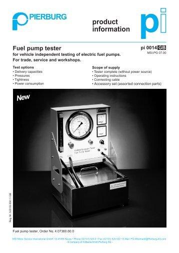 Fuel pump tester - PIERBURG Service Partner