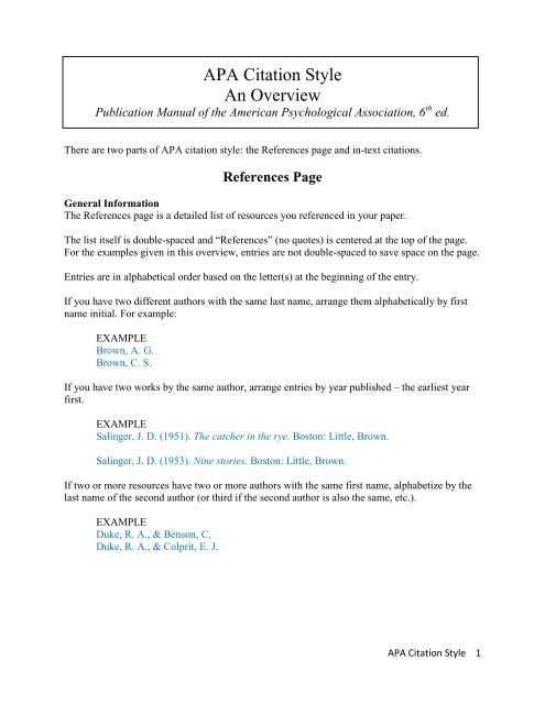 APA Citation Style An Overview