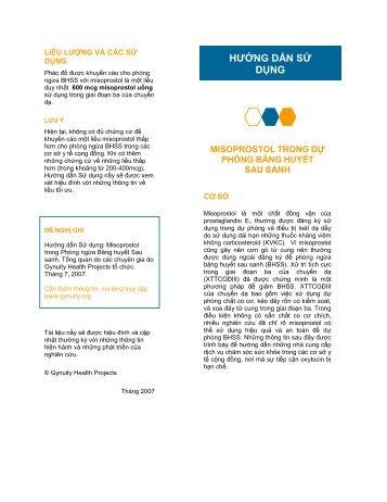 HƯỚNG DẨN SỬ DỤNG - Gynuity Health Projects
