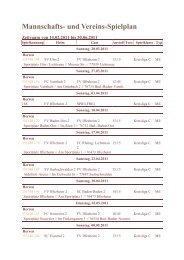 Mannschafts- und Vereins-Spielplan