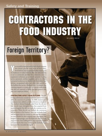 Safety and Training: Contractors in the Food Industry