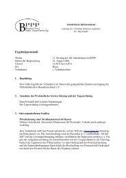 Protokoll der Sitzung des Arbeitskreises Infrastruktur am ... - BPPP