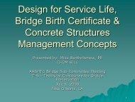 Design for Service Life, Bridge Birth Certificate & Concrete ...
