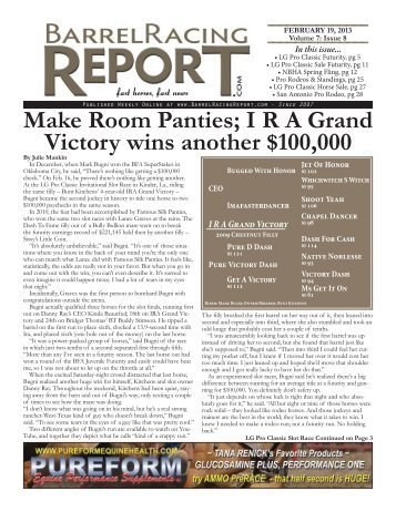 Make room Panties - Barrel Racing Report