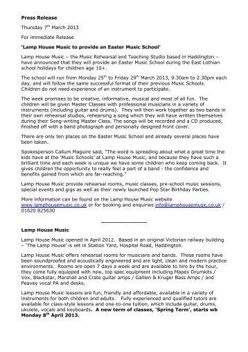PR Easter Music School 2013 Flyer - eduBuzz