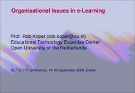 Organisational Issues in eLearning - Association for Learning ...