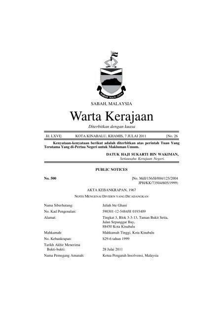 Warta Kerajaan - Sabah