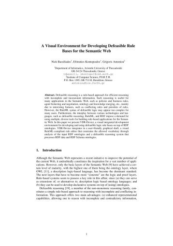 A Visual Environment for Developing Defeasible Rule Bases ... - ICS